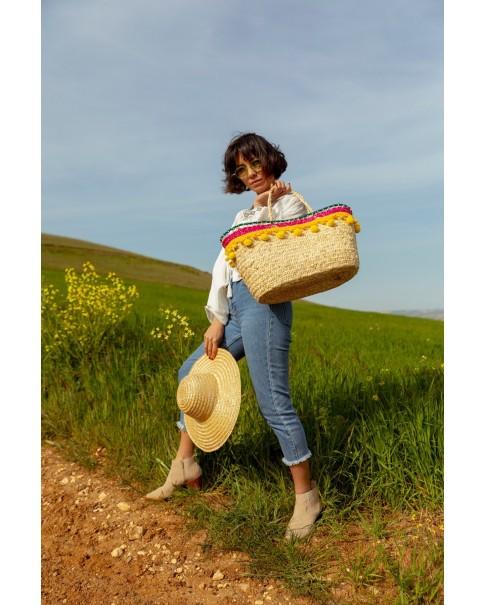 Sarı Ponpon Püsküllü Çanta