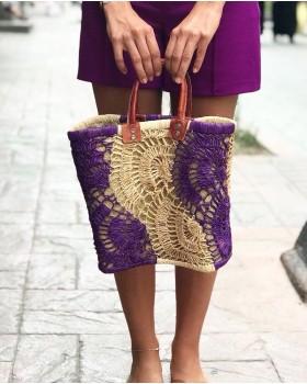 Mor-Krem Renkli Hasır Çanta