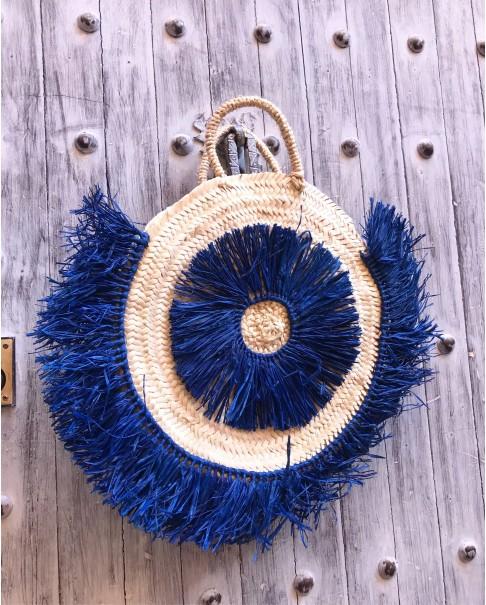 Mavi Püsküllü Yuvarlak Hasır Çanta