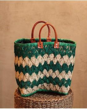 Yeşil Krem Hasır Çanta