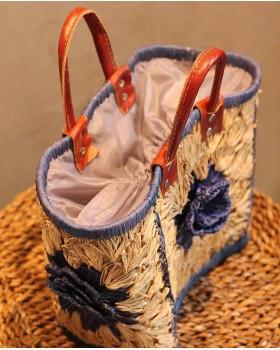 Mavi Çiçek Desenli Çanta