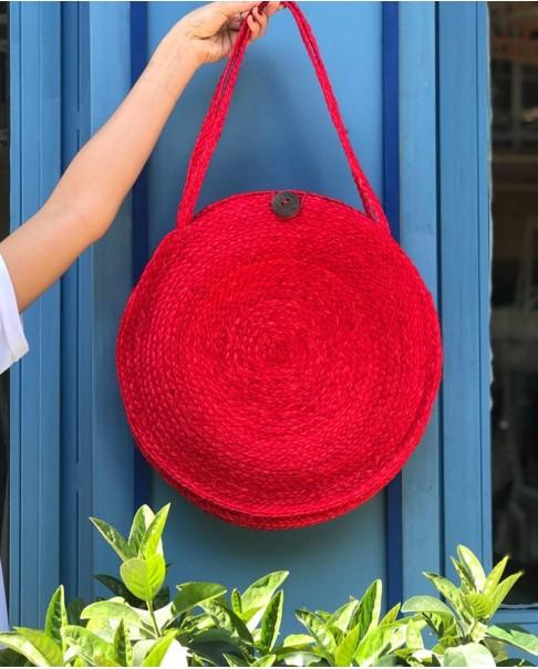 Kırmızı Yuvarlak Hasır Çanta