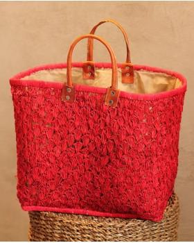 Kırmızı Hasır Örme Çanta