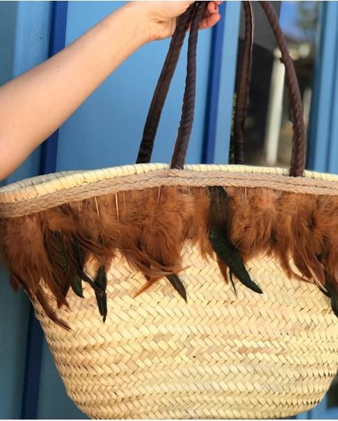 Feather Boho Hasır Çanta