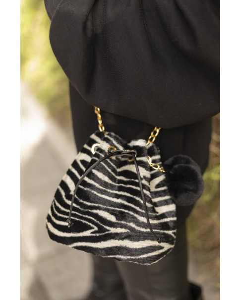 Zebra Peluş Torba Çanta