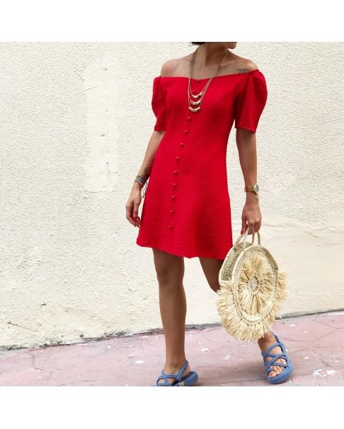 Düğmeli Kırmızı Elbise