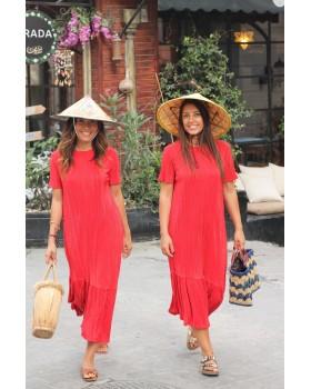 Kırmızı Krinkıl Kumaş Elbise