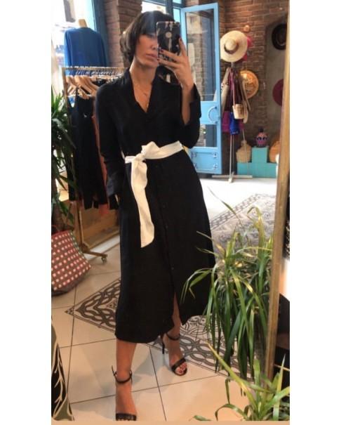 Siyah Keten Elbise