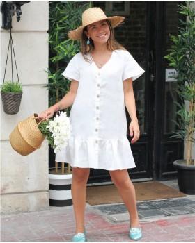 Fırfırlı Beyaz Keten Elbise