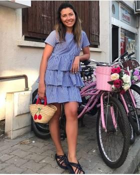 Fırfırlı Pötikareli Elbise