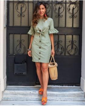 Fiyonk Detaylı Yeşil Elbise