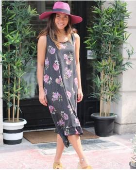 Pembe Çiçekli Gri Elbise