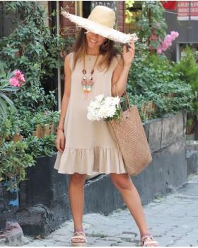 Tensel Kumaş Fırfırlı Bej Elbise