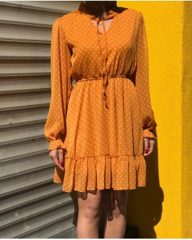 Turuncu Puantiyeli Elbise