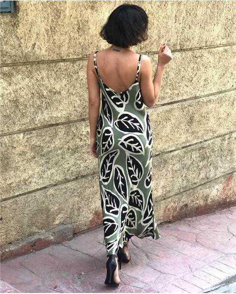 Yaprak Desenli Saten Elbise