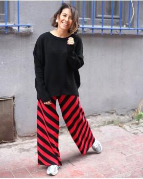Kırmızı Siyah Triko Pantolon