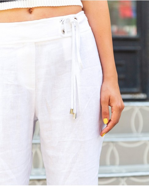 Beyaz Bermuda Keten Pantolon