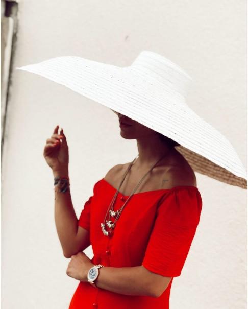 Beyaz Oversize Hasır Şapka