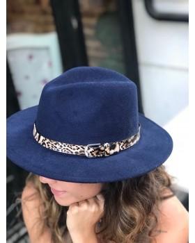 Leopar Şeritli Lacivert Kumaş Şapka
