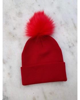 Kırmızı Ponponlu Bere