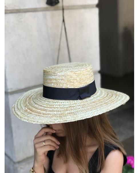 Siyah Şeritli Hasır Şapka