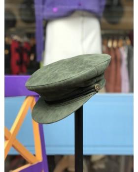 Haki Kadife Kaptan Şapka
