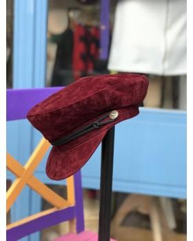 Bordo Kadife Kaptan Şapka