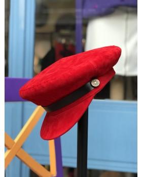 Kırmızı Kadife Kaptan Şapka