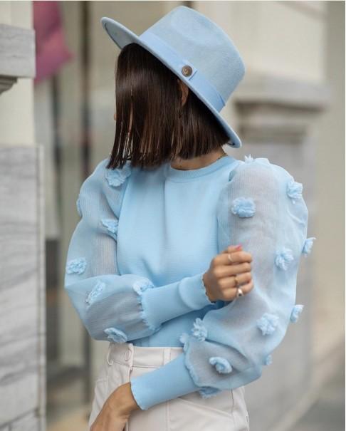Bebe Mavisi Panama Şapka