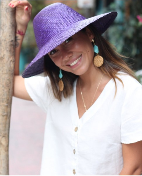 Mor Hasır Şapka