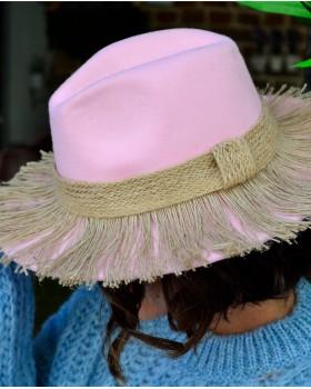 Pembe Bohem Fötr Şapka