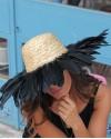 Siyah Kuş Tüylü Şapka