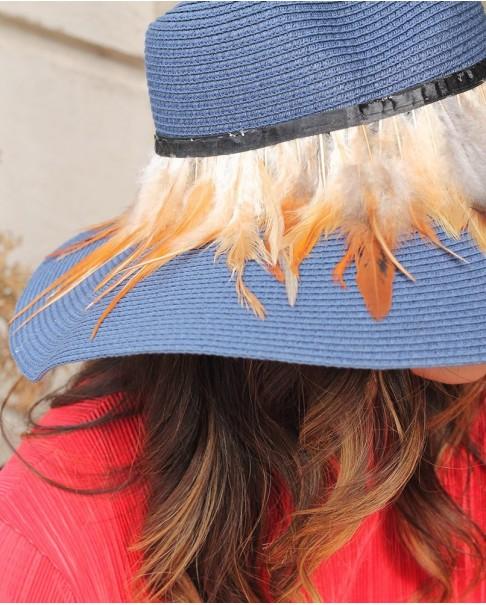 Lacivert Kahverengi Tüylü Şapka