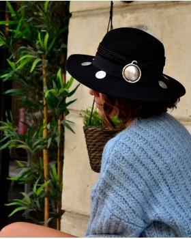 Madalyon Siyah Fötr Şapka